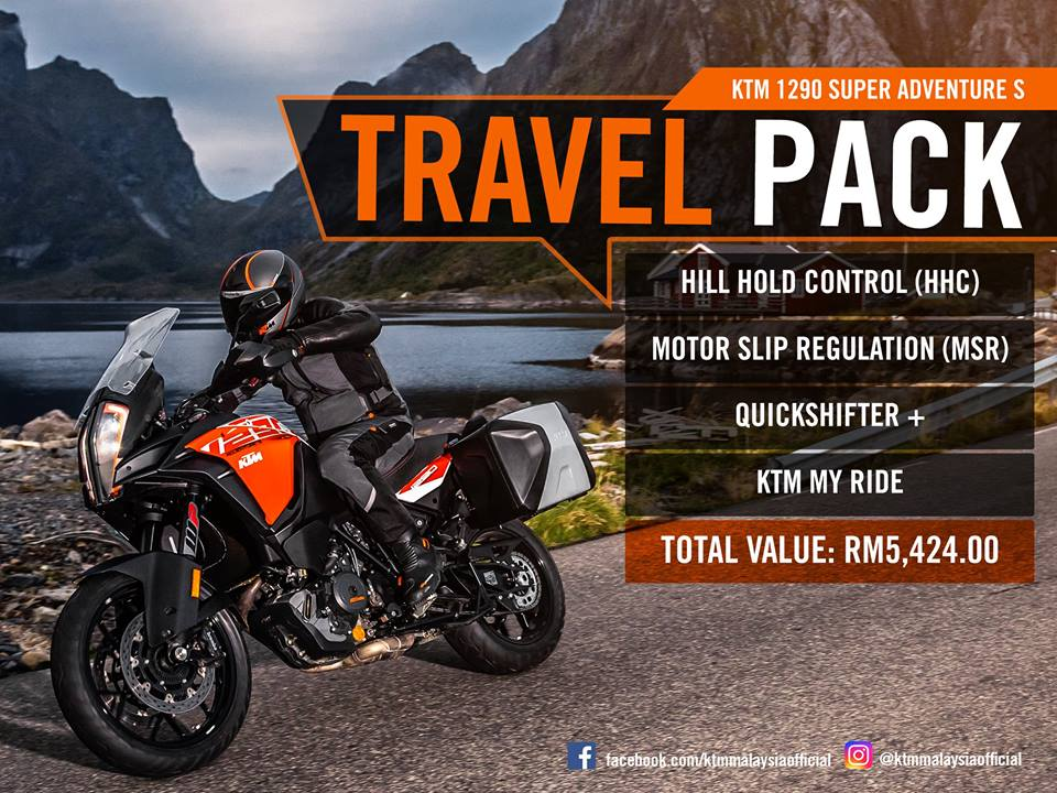 Purchase a KTM 1290 Super Adventure S today and receive a complimentary Travel Pack worth RM5,424!