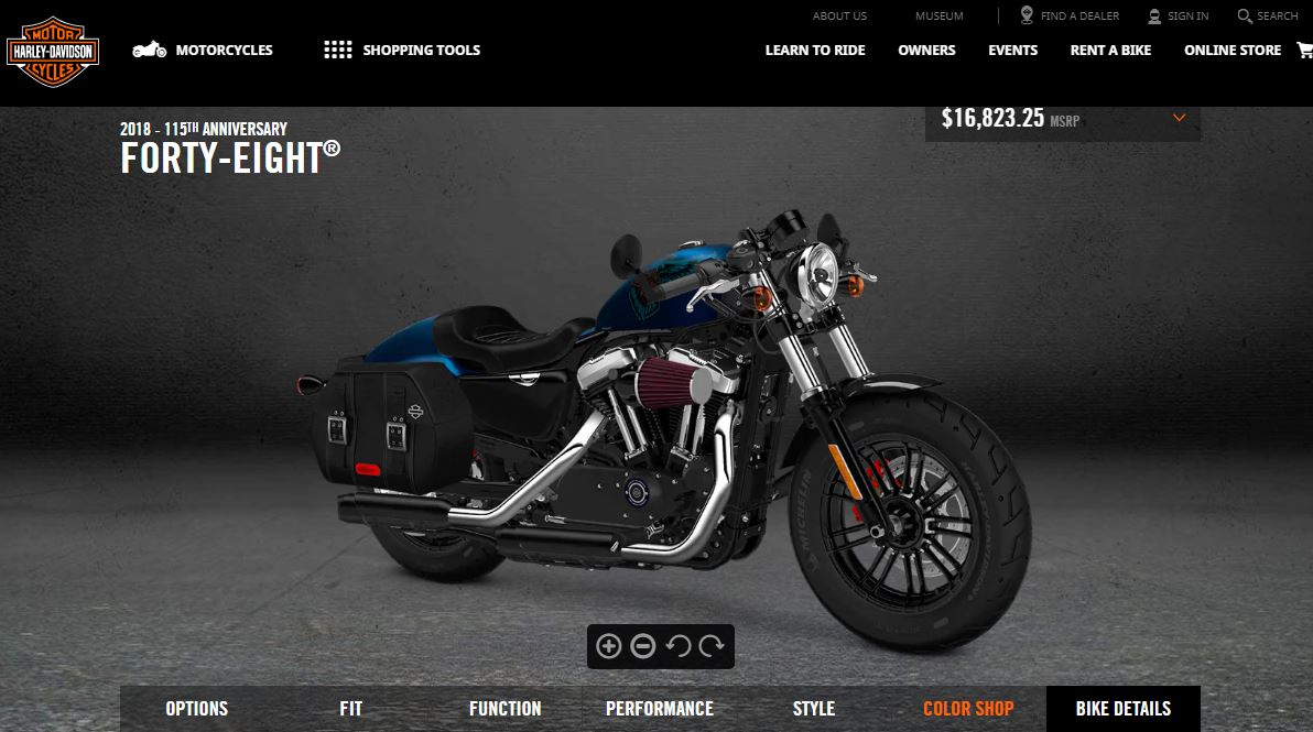 Customizing a Harley with just a few clicks