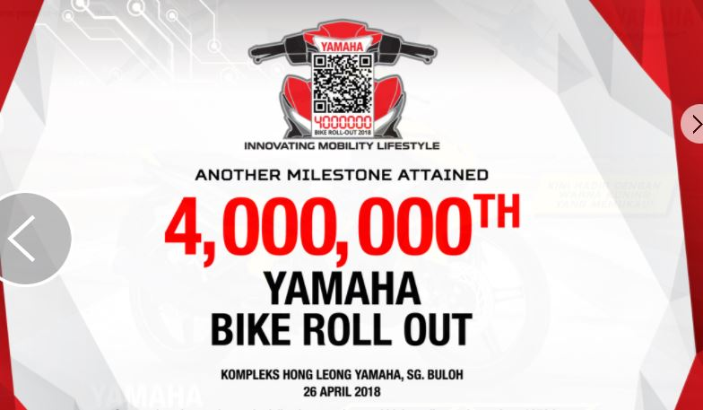 Yamaha rolls out the 4,000,000th motorcycle manufactured in Malaysia!