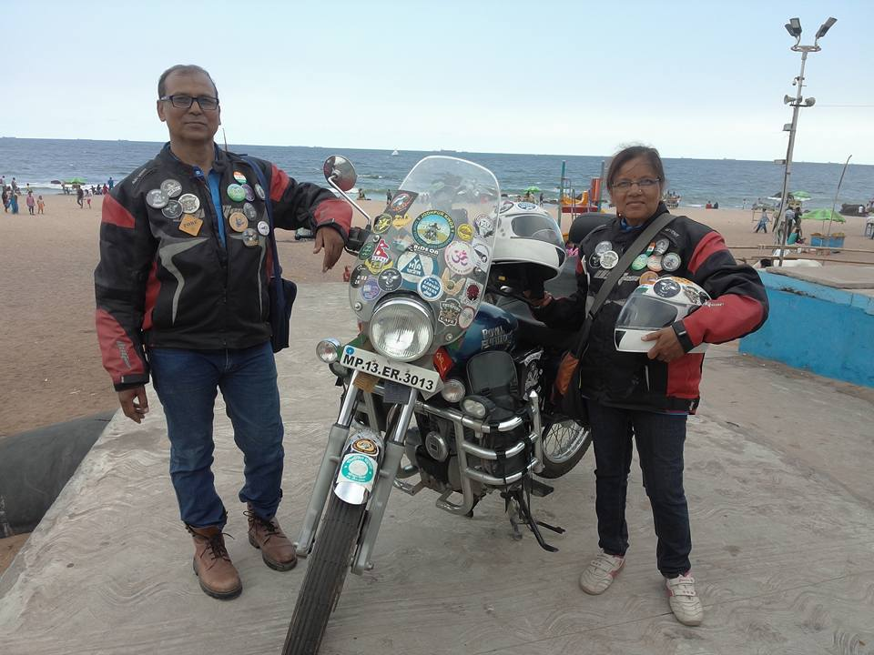 Retired couple tours through India on their Royal Enfield bikes