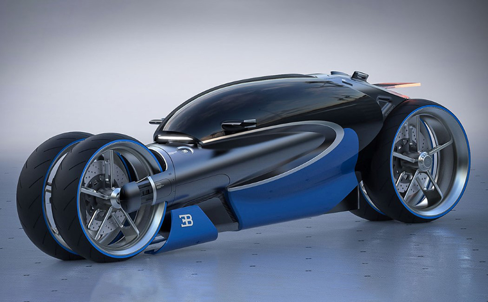 The Bugatti Type 100m motorcycle is as futuristic and unique as ever