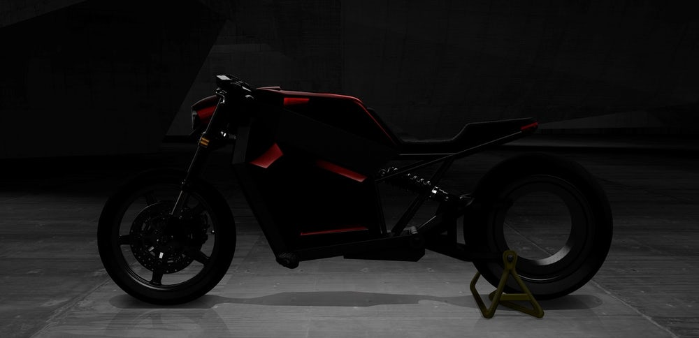 The RMK E2 electric motorcycle uses hubless wheel