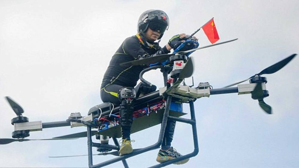 Chinese inventor builds a homemade flying bike!