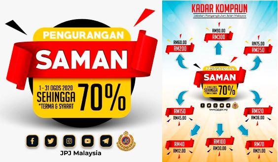 70 Jpj Spad Saman Discount From 1st 31st August 2020