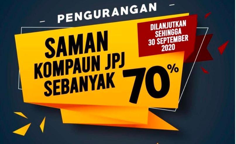 70% JPJ Saman Discount Extended Until 30th September 2020!